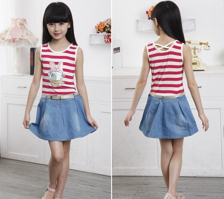 Girl′s Summer Dress/Children Striped Denim Skirt/ Vest Skirt