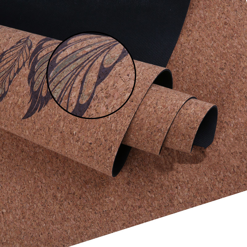 Anti-Tear Durable Cork Yoga Mat 5mm Thickness with Custom Graphic Printing.