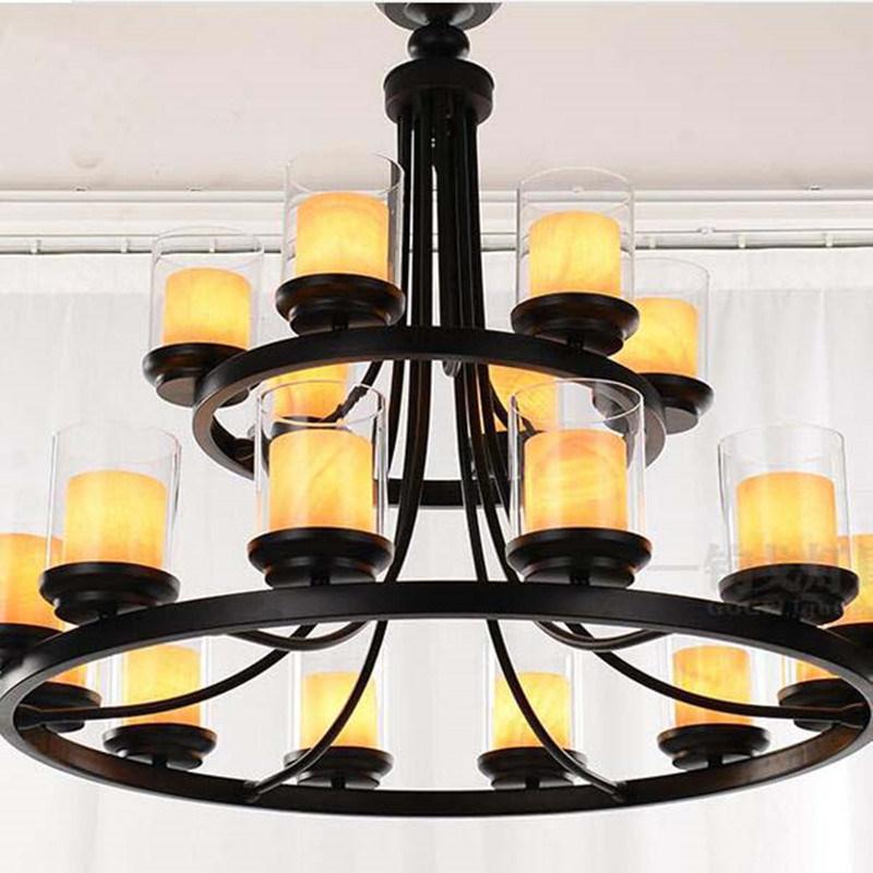 Hotel Decorative European Clear Glass Candelabra Chandeliers Pendant Lamp