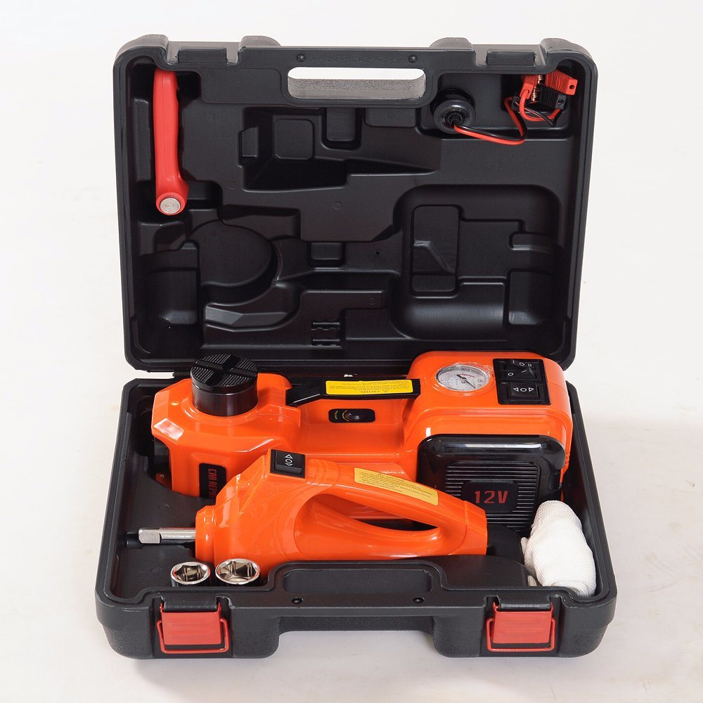 Electric Hydraulic Floor Jack with Impact 480n. M Wrench and Air Compressor