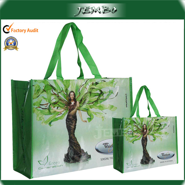 Green Recycled Advertised Fashion Quality Laminate Tote Bag