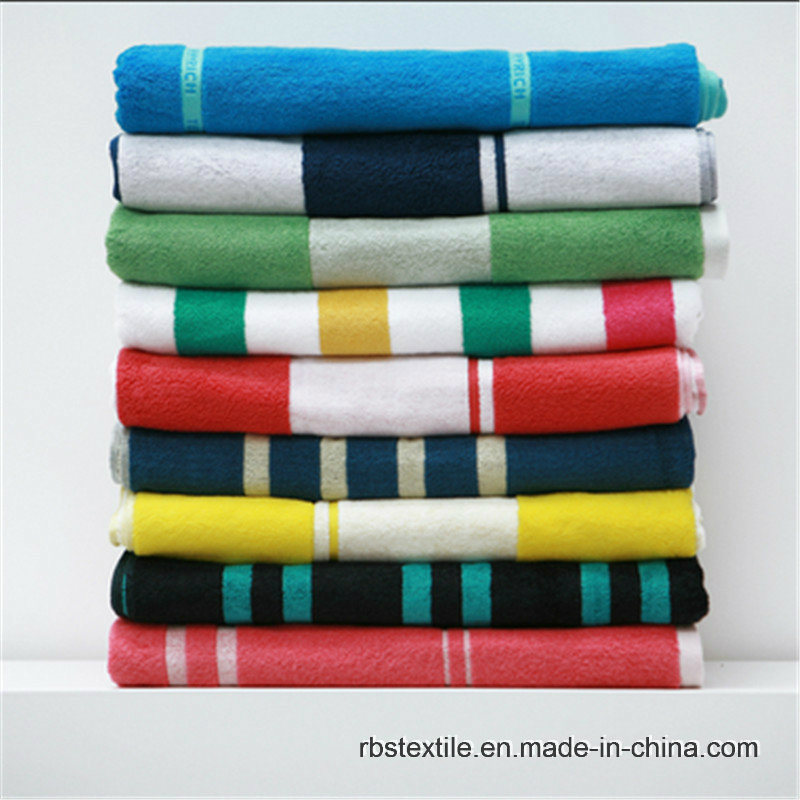 100% Cotton Jacquard Beach Towel Beach Blanket with High Quality
