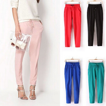 Custom Plain Women Chiffon Harem Trousers (50208)