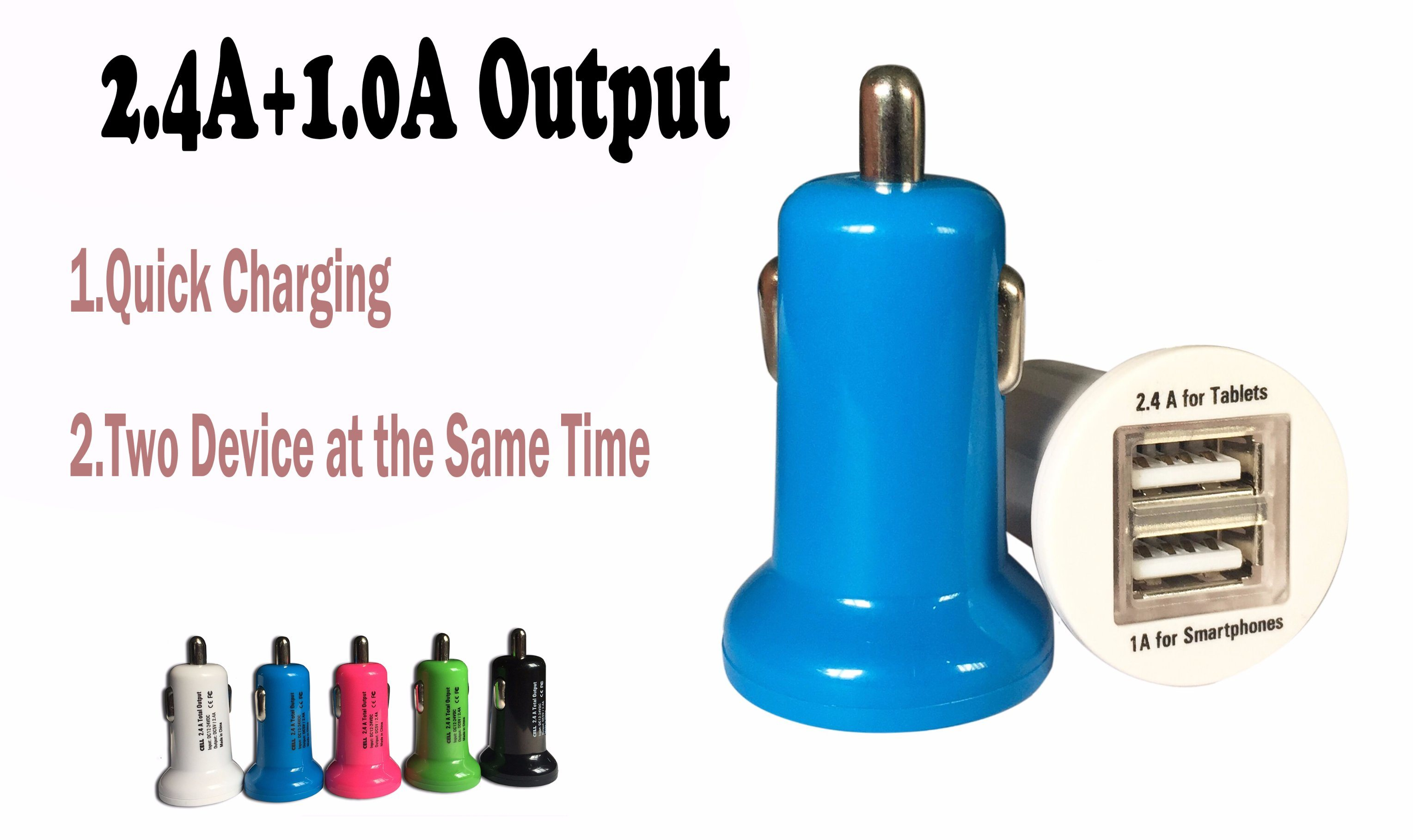 2017 Upgraded Version 5V 2.4A+1.0A Mobile Phone Portable Dual USB Car Charger