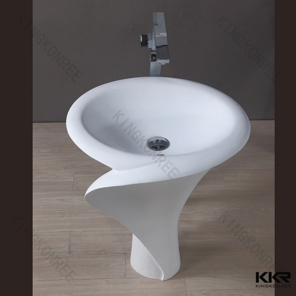 China Modern Solid Surface Stone Resin Freestanding Wash Basin Photos ...