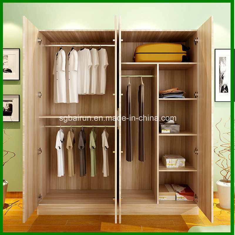 4 Doors Wood Panel Wardrobe Cabinet