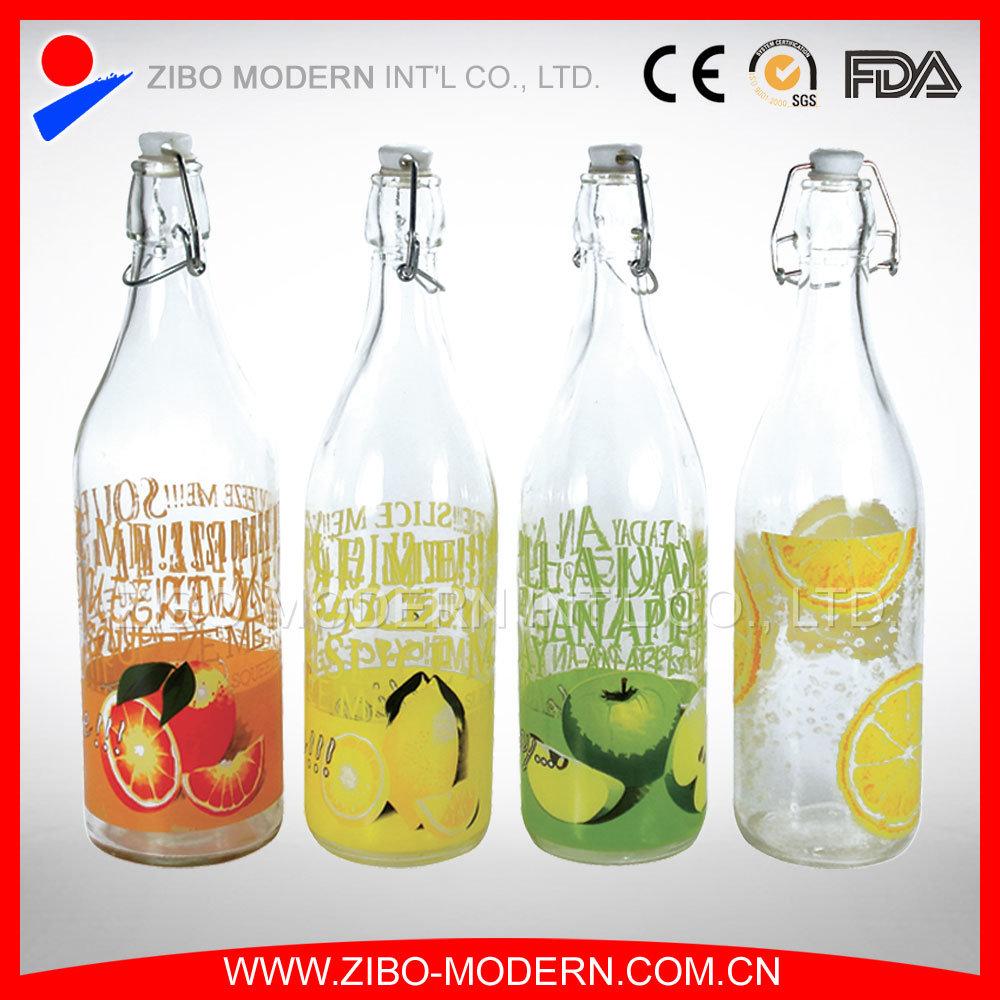 Wholesale Beverage 1 Liter 1000ml Wine Juice Water Milk Glass Bottle with Hermetic Lid