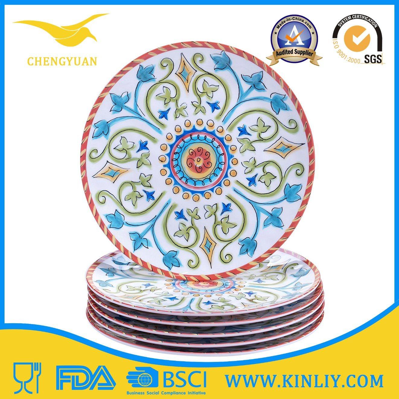 China 100% Melamine Kitchen Tableware Dish Plastic Dinner Plate Europe