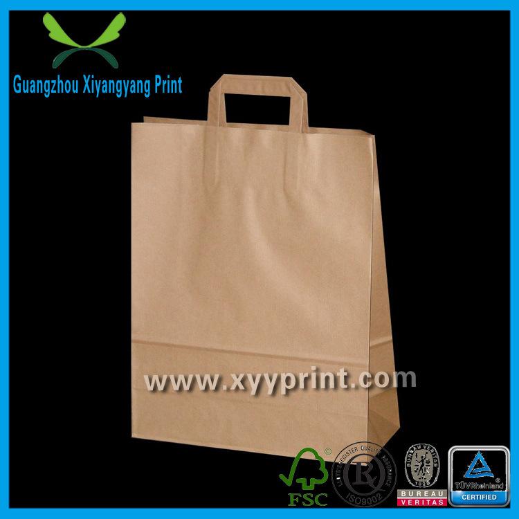Custom Flat Handle Kraft Paper Shopping Bag with Window