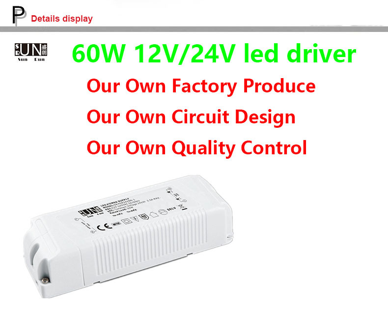 Ce, IEC LED Driver 12V 60W 5AMPS, LED Power Supply 12V 60W, High Power Factor LED Power Supply, PF>0.95, for LED Strips, LED Driver, Power Supply