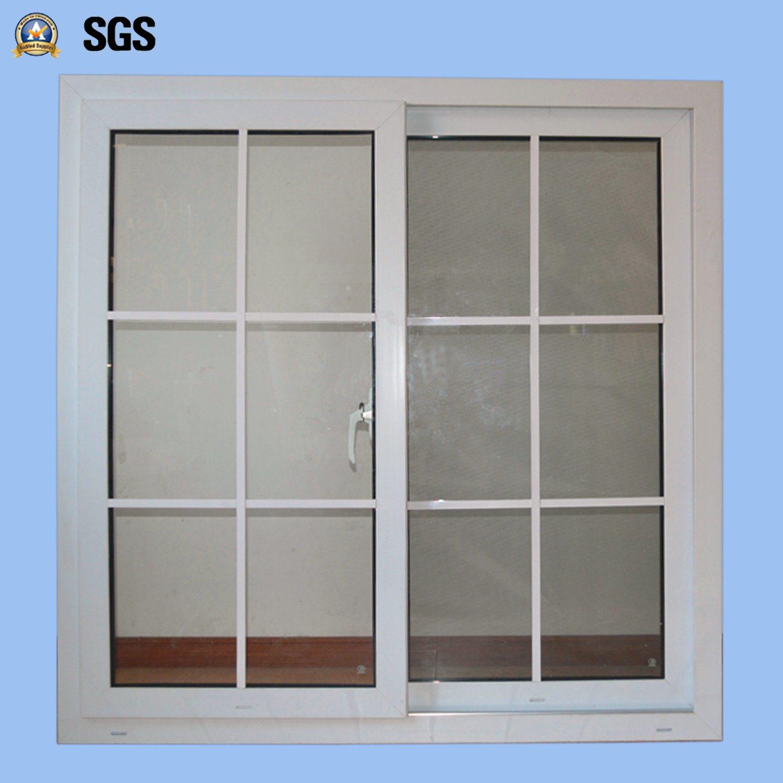 Double Glass with Grid White Colour UPVC Profile Sliding Window K02032