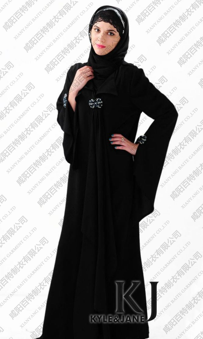 2012 New Design Diamond Fashion Black Abaya (KJ-WF1173