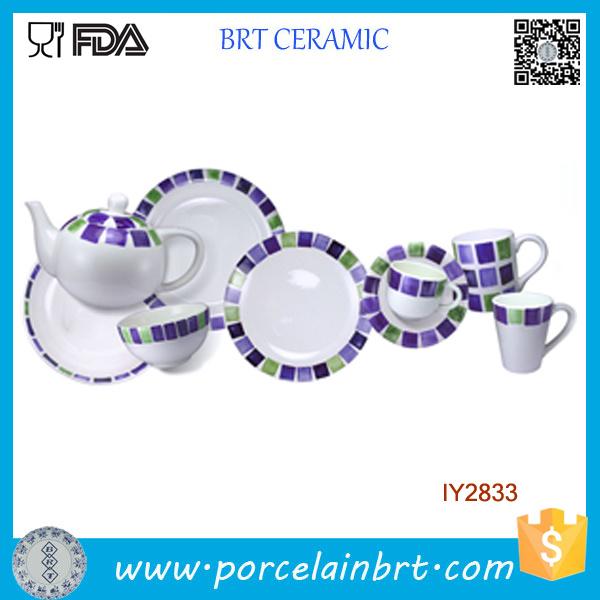 9PCS Ceramic Modified Small Squares Tableware Morden Kitchen