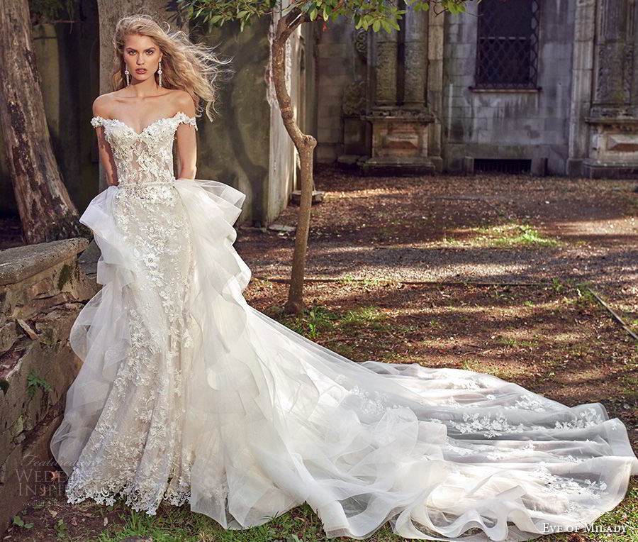 Lace Bridal Ball Gown off Shoulder Lace Mermaid Wedding Dress Ml2873