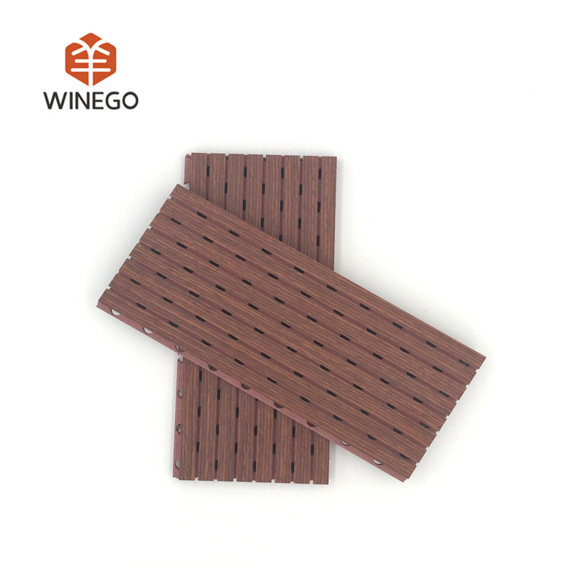 Teak Natural Veneer Finish Groove Fire-Resistant Acoustic Panel