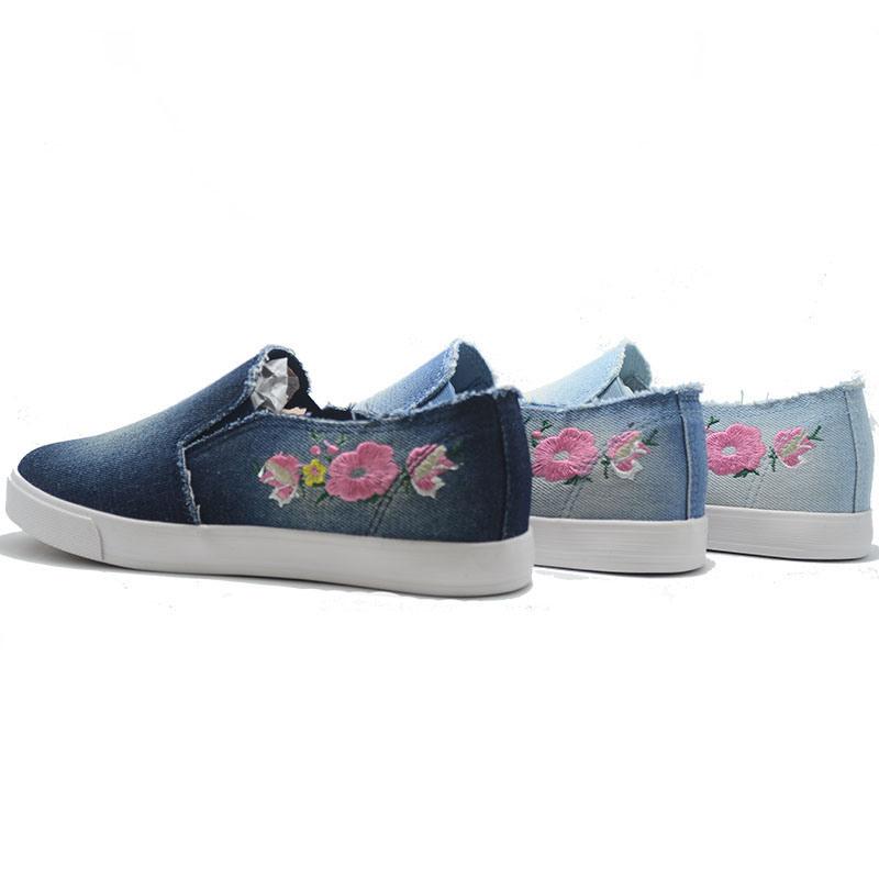 Denim Side Flower New Student Casual Women Men Low Shoes