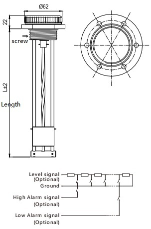 Mechanical Type Fuel Level Gauge 200mm for Generators