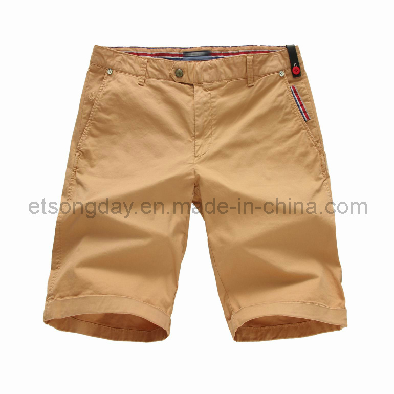 Khaki Cotton Spandex Men′s Shorts (APC44)