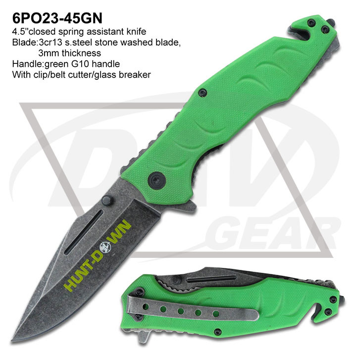 "2016 New Knife 4.5""Spring Assistant Green G10 Handle Pocket Knife: 6po23-45gn"