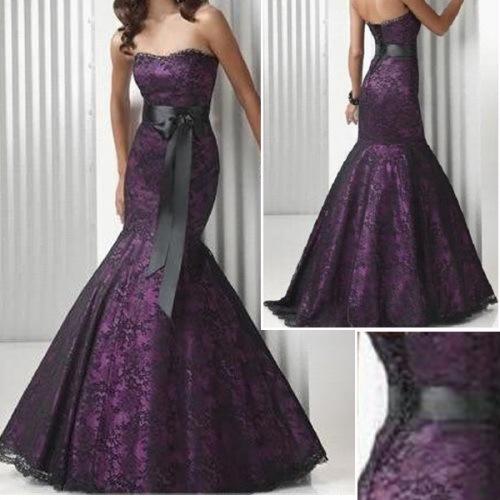 China Party Dress Strapless Black Lace Belt Purple Satin Prom Dress Mermaid Eveing Dress E38