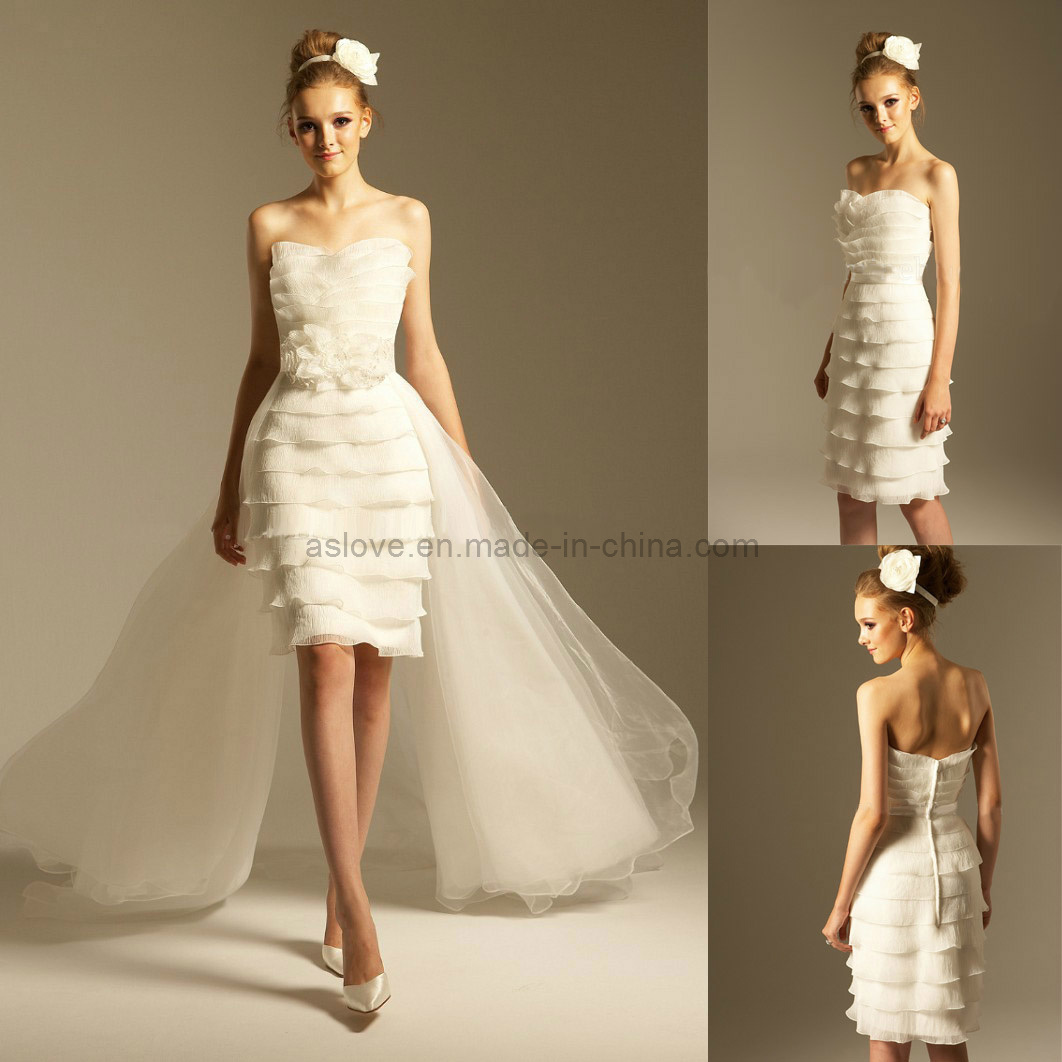 China detachable train short informal wedding dress bridal for Detachable train wedding dress