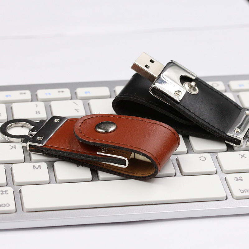 Leather USB Flash Drive 64GB 32g 16g 8g Pen Drive Flash Memory Stick (TF-0249)