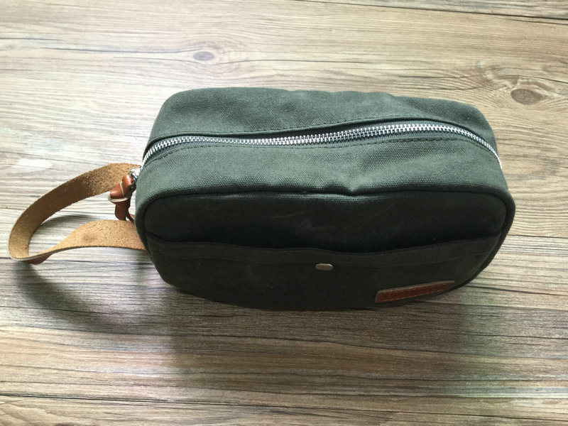 Custom High Quality Dopp Kit Waxed Canvas Leather