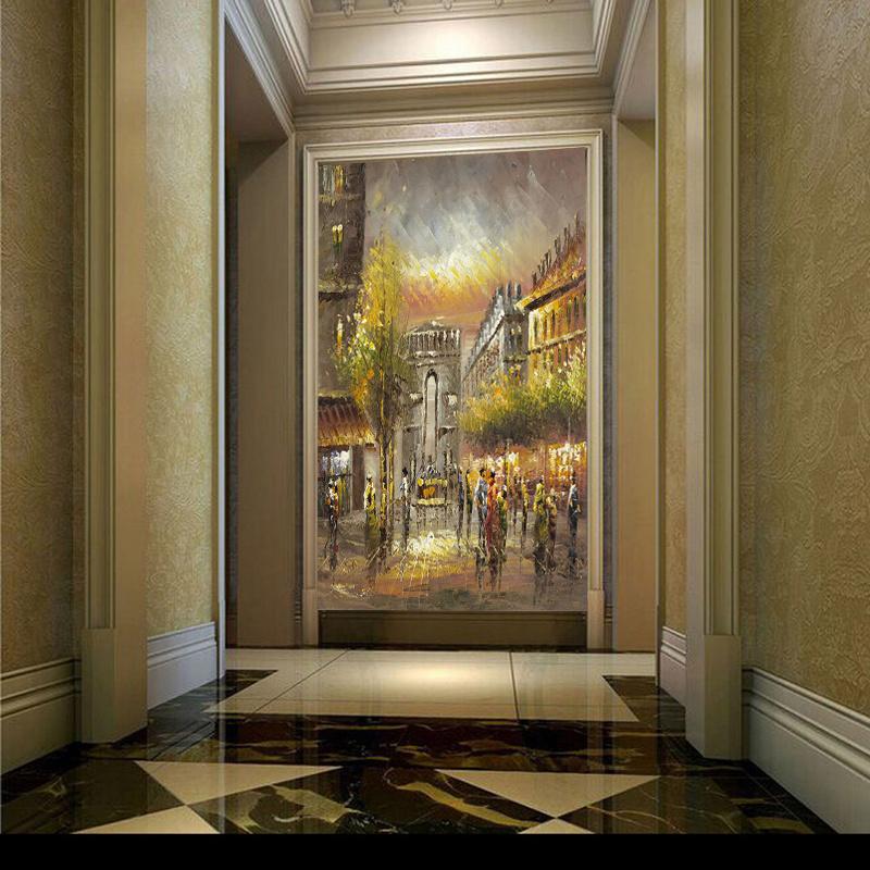Hotel&Homde Decorative Wall Art Paris Street Art Canvas Oil Painting