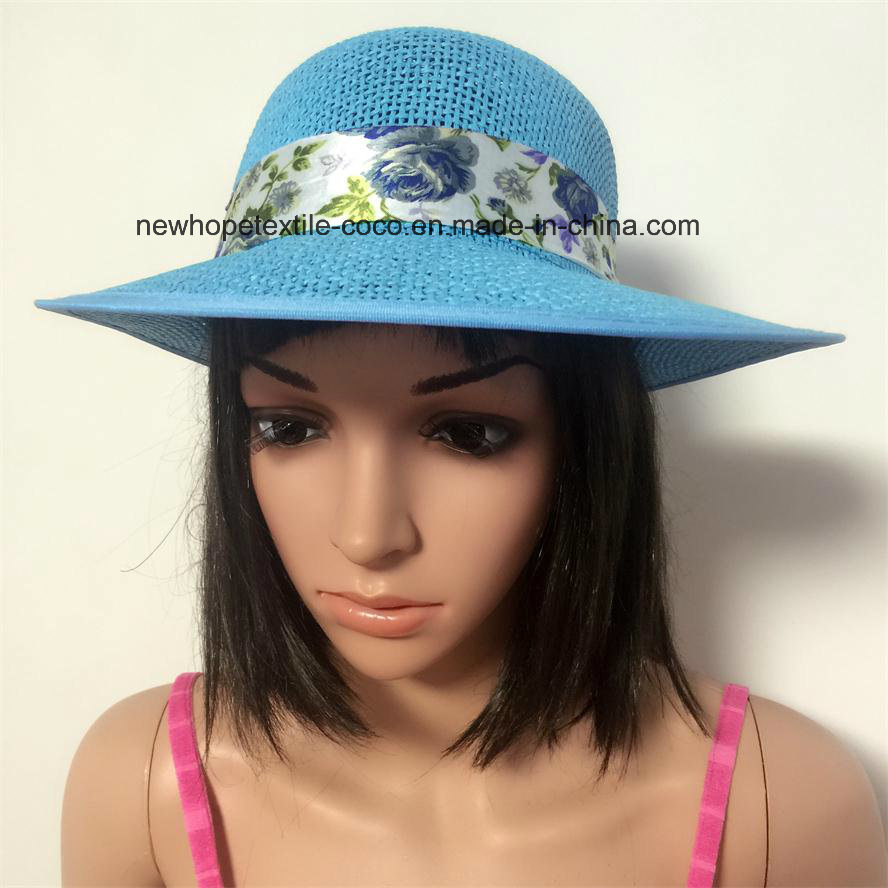 100% Straw Hat, Fashion Visor Style with Chiffon Ribbon Decoration