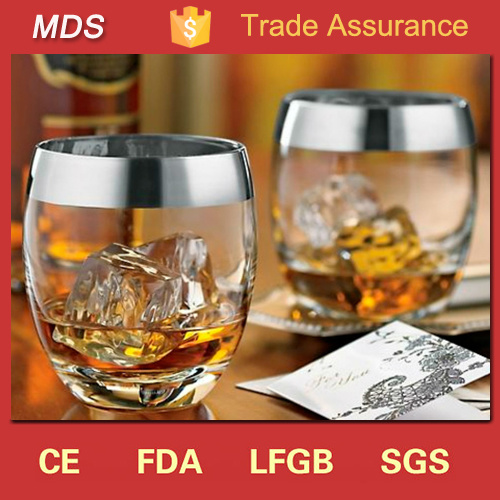 Factory Sale Silver Rim Personalized Whisky Glass Tumbler