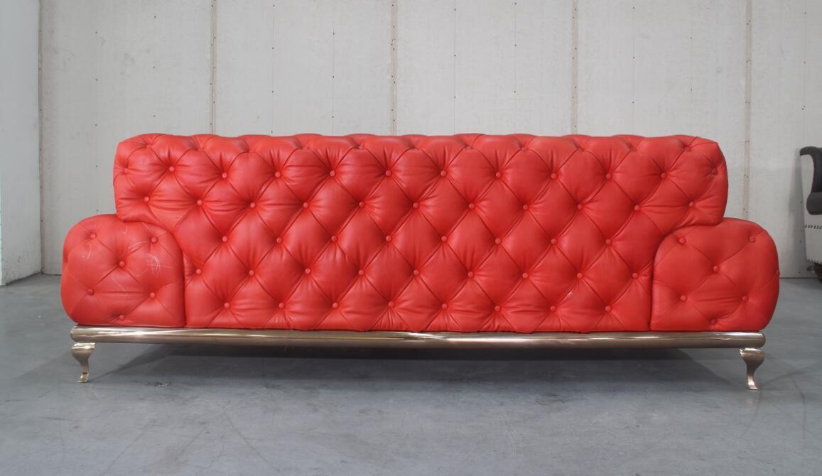 Luxury Red Button Full Grain Leather Three Seats Sofa