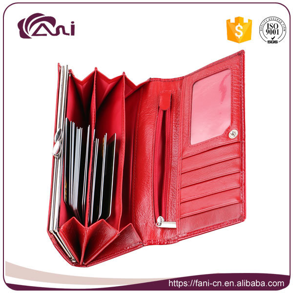 Newest Design Luxury Style Wholesale Women Wallet, Red Cow Leather Lady Wallet