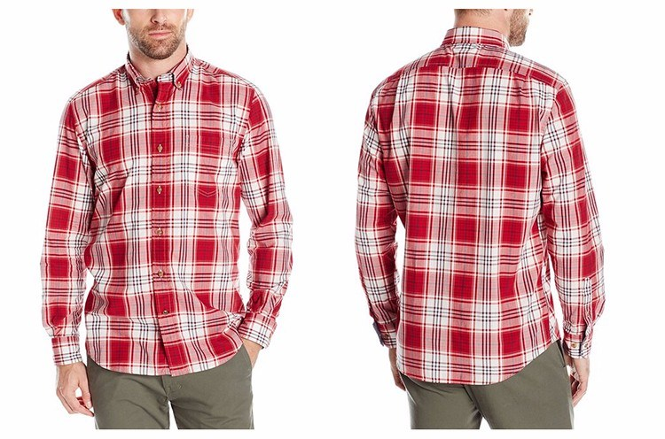 Men′s Classic Fit Cotton Long Sleeve Red Plaid Shirt