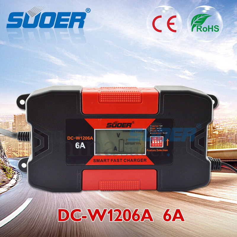 Suoer 12V 6A Intelligent Smart Fast Battery Charger with Ce (DC-W1206A)