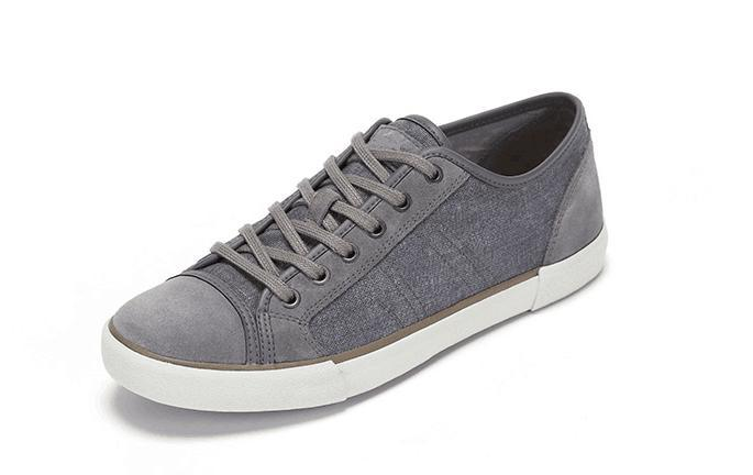 Gray Canvas and Leather Mix Plain Casual Shoes (CAS-040)