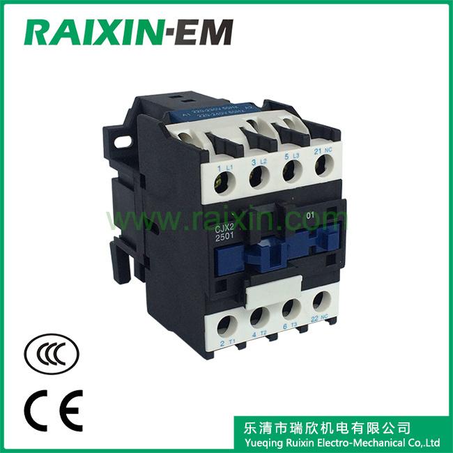 Raixin Cjx2-2510 AC Contactor 24V AC 3p AC-3 380V 11kw Magnetic Contactor