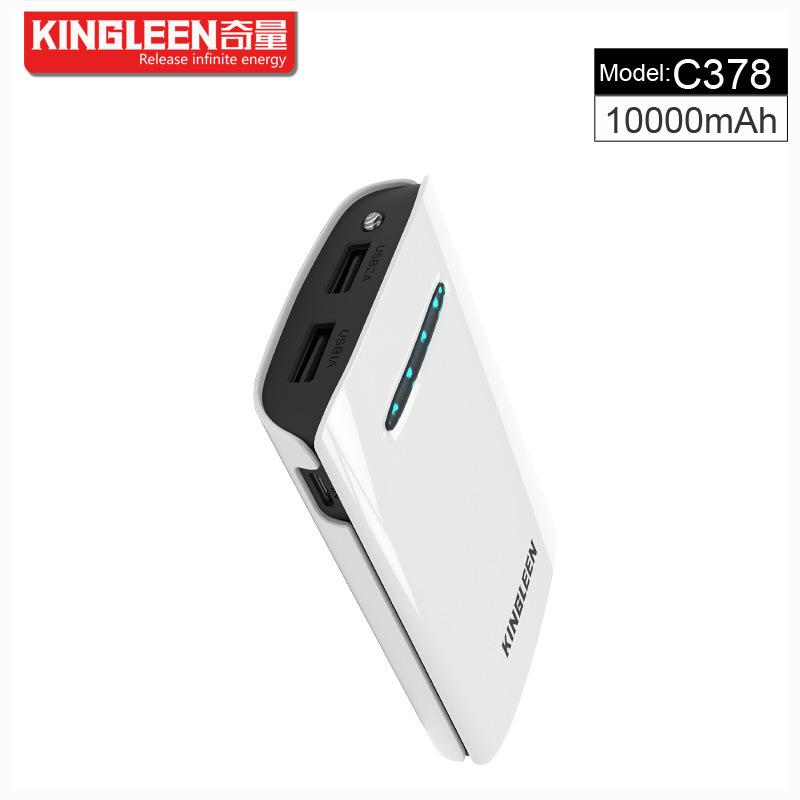 Kingleen C378 Power Bank 10000mAh Dual USB 2A Output High Quality for Phone