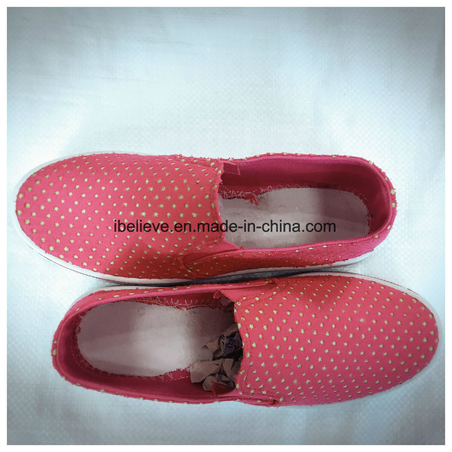 Woman Fabric Shoes with PVC Outsole