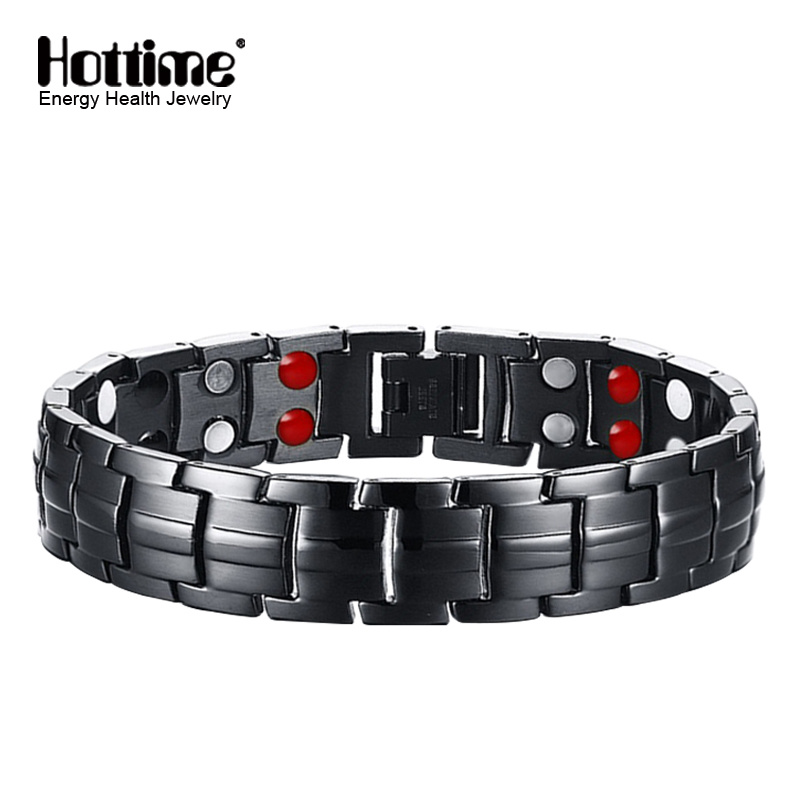 Black Gun Plated Titanium Bracelets for Man with Double Row