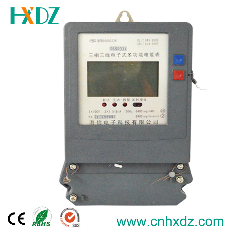 Three Phase Electronic Multi-Rate Watt-Hour Power Energy Induction Smart Meter