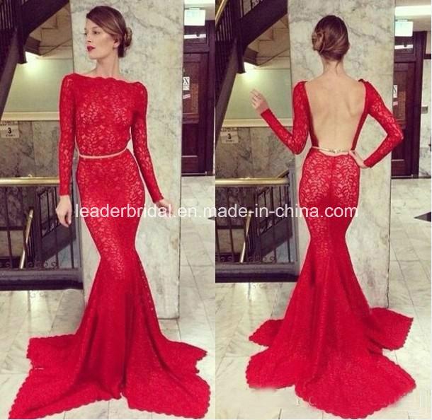 2015 elegant wedding dress long sleeves red lace mermaid bridal dress