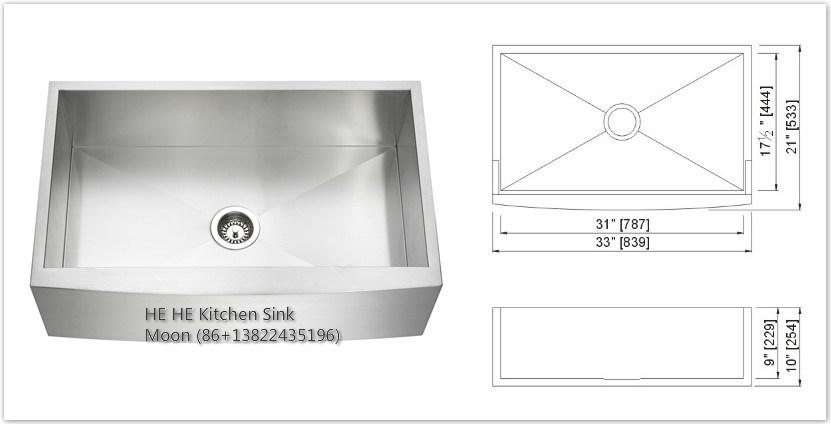 Handmade Sink Ss3321, Apron Sink, Cabinet Basins