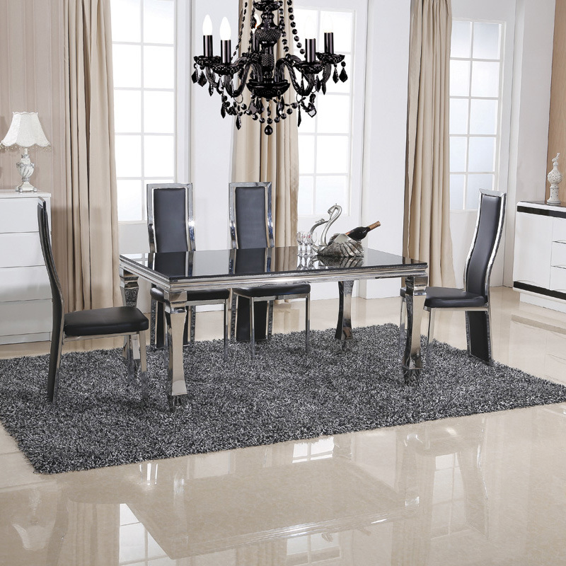 china stainless steel square dining room glass painted