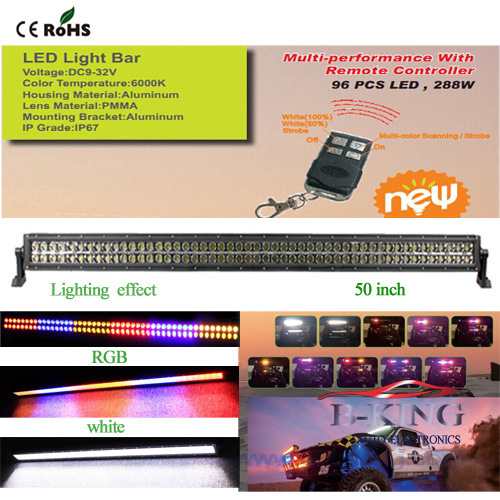 50inch 288W Remote Control RGB Epistar LED Bar Light