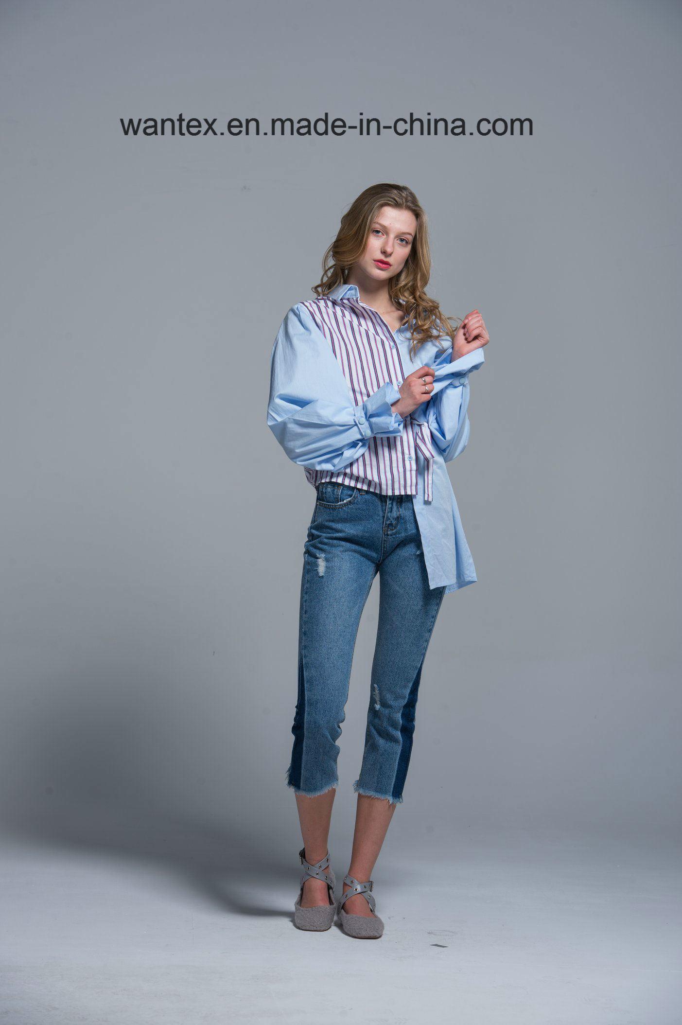 Ladies Blouse 100% Cotton Irregular Fashion Shirt Fashion Top Spring Autumn