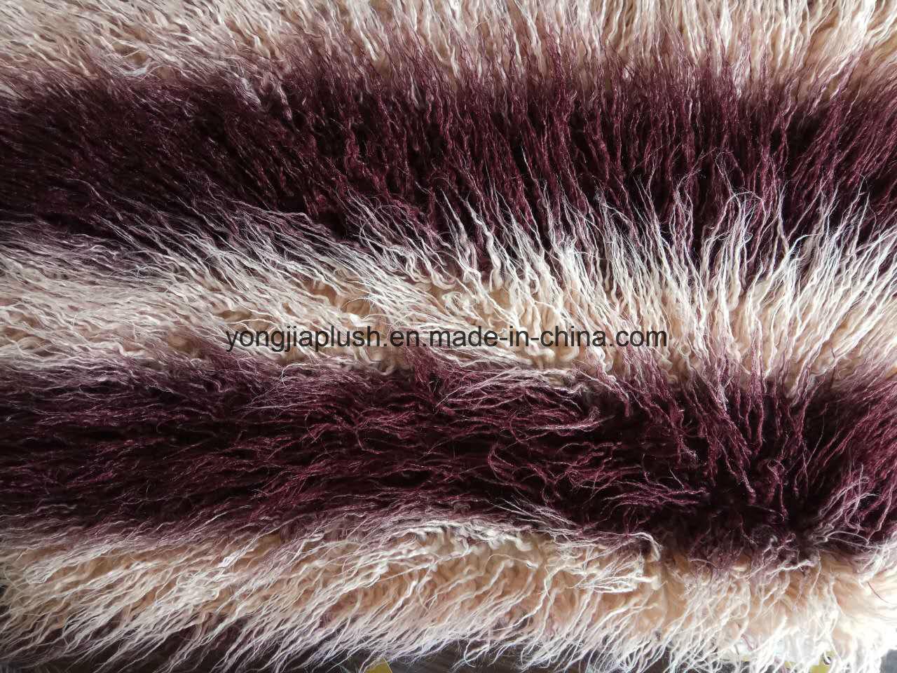 Wine Red Apricot Jacquard Mongolian Fur