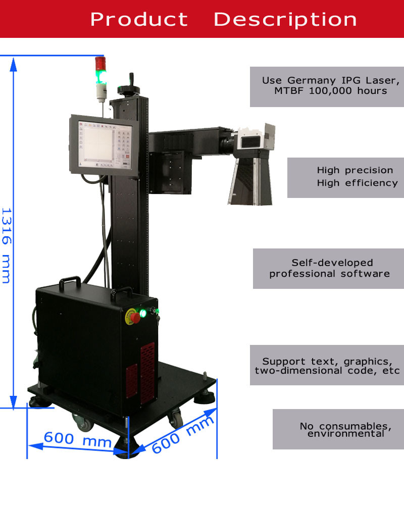 20W 30W 50W Ipg Fiber Laser Marking Machine for Pipe, /PVC/HDP/PE/CPVC etc Plastic Non-Metal