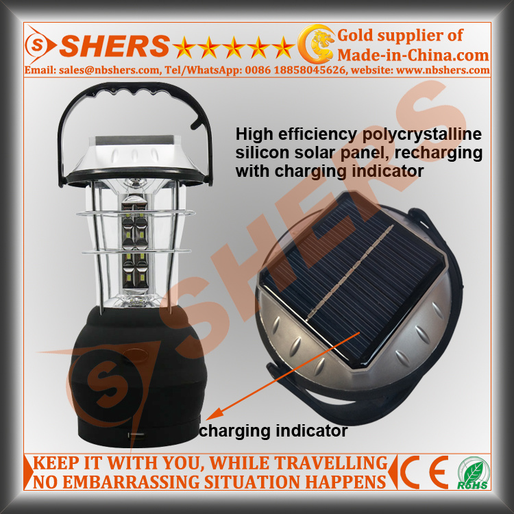 24 SMD LED Solar Camping Lantern with Dynamo Cranking (SH-1990S)
