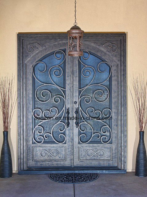 Wrought Iron Low Price Security Double Entry Door for House