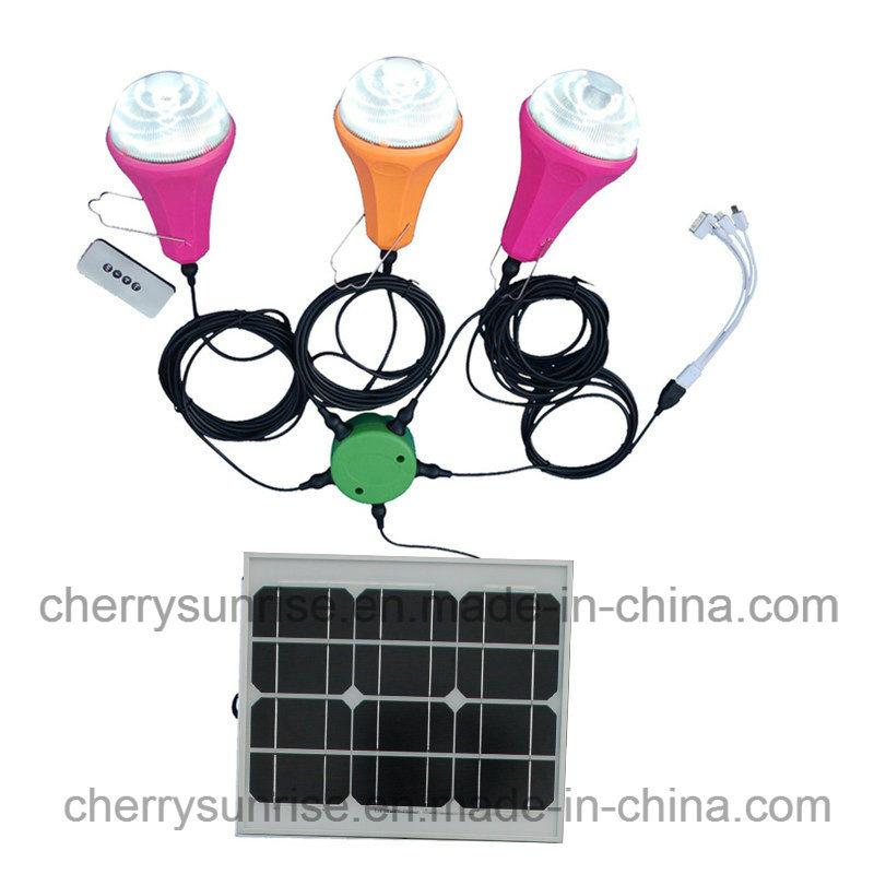 Solar Power System Kit 6W Solar Panel 2800mAh Battery LED Light Charge Phone